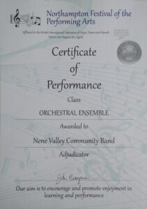 northampton festival of arts certificate of performance